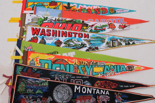 70s vintage felt pennants wall hanging state souvenir