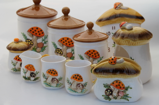 kitchen canisters ceramic sauder pantry 70s vintage merry mushrooms lot sears ...