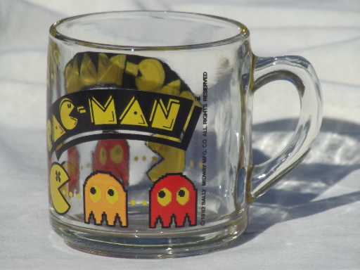80s vintage Pac Man mug retro Libbey glass coffee cup
