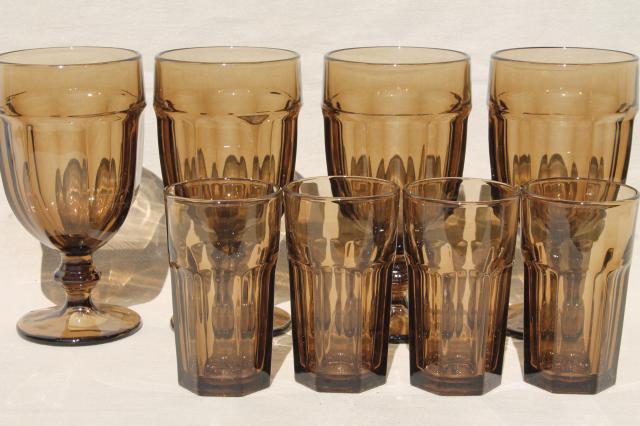 Libbey Gibraltar mocha brown smoke iced tea water goblets