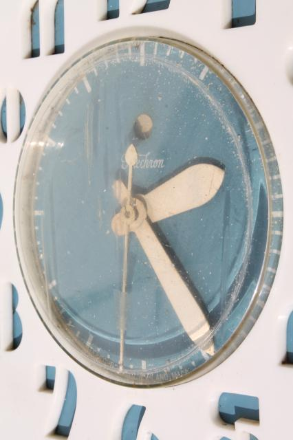 blue kitchen wall clocks ceramic tile mcm vintage telechron electric clock deco numbers in retro white
