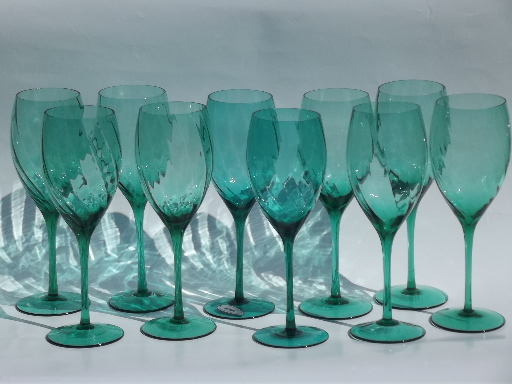 Aqua teal green glass wine glasses optic swirl Pier 1