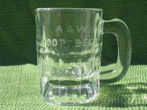AW root beer vintage embossed glass advertising mug mini