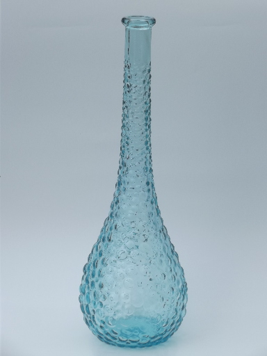 Blue bubbles retro 60s Italian art glass decanter bottle