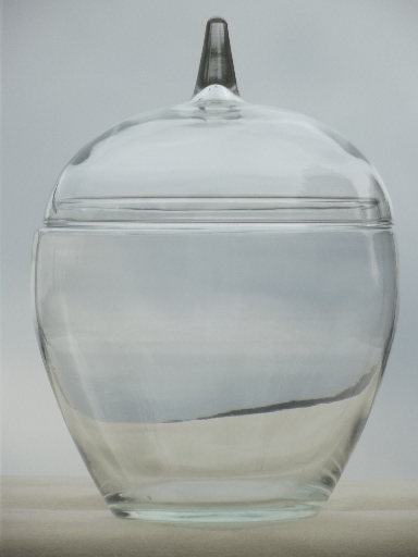 Clear glass apple cookie jar canister from vintage country