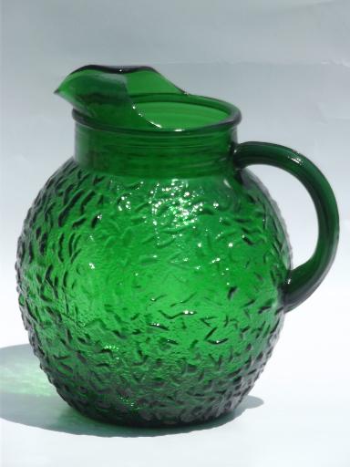 Forest green Soreno glass ball pitcher retro vintage Anchor Hocking
