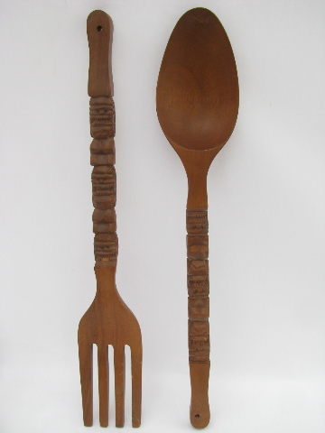 Giant fork  spoon retro tiki vintage carved wood kitchen