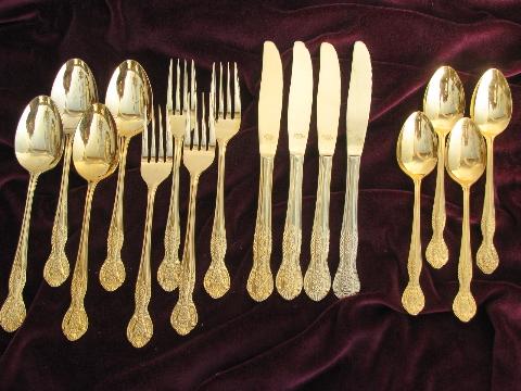 Gold plated silverware Pamela flatware for 4 vintage