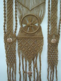 Hippie vintage macrame, retro 70s natural rope fringed ...