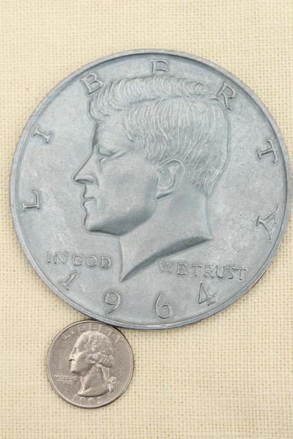 huge oversized play fun money vintage cast metal coins