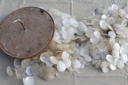 Huge Retro 70s Vintage Capiz Shell Hanging Light Ceiling To Floor Chandelier W Shower Of Shells