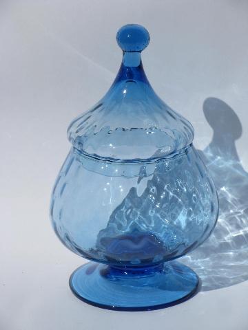 Large Blue Genie Bottle 60s Vintage Italian Art Glass