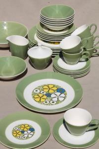 mid-century mod vintage dinnerware set for w/ retro blue ...