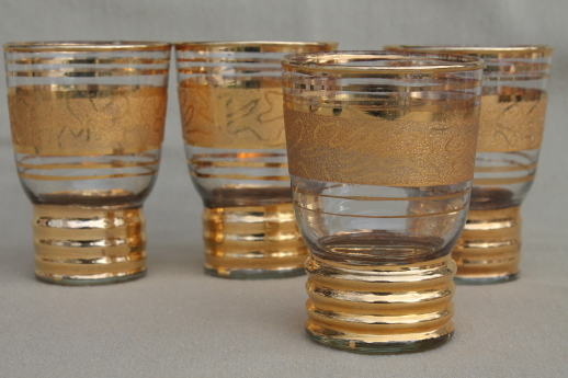 Midcentury mod vintage gold encrusted glass tumblers