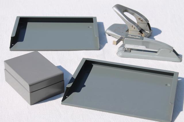 mid-century modern vintage industrial steel grey metal office desk accessories lot