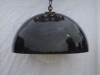 Mod smoke lucite plastic dome globe shade swag lamp, retro ...