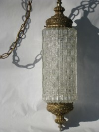 Ornate gold glass lantern swag lamp, retro 60s vintage ...