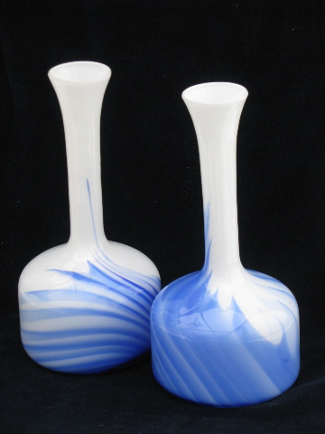 Pair tall mod bottle vases vintage milk glass w cobalt