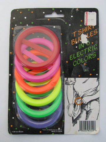 Retro 1980s neon electric colors plastic tshirt buckles