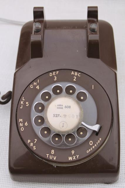 retro 70s vintage rotary dial phone brown telephone w