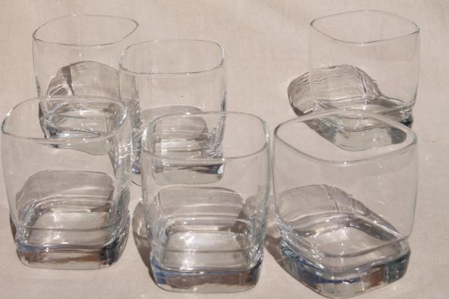 retro Libbey Carrington square glass tumblers on the