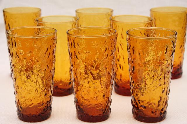 retro amber glass drinking glasses vintage Anchor Hocking