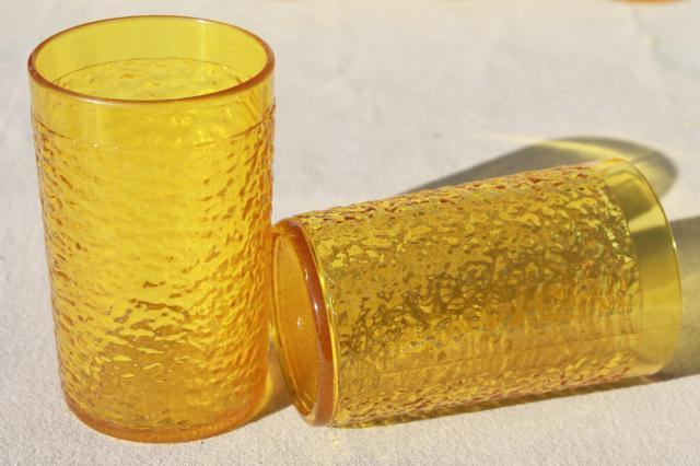 Retro Amber Yellow Crinkle Ice Textured Plastic Restaurant