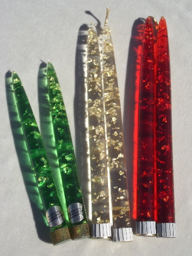 Retro Glitter Lucite Plastic Candles Mcm Vintage