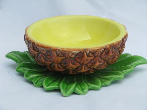 Retro tiki tropical pineapple shape sauce or salsa bowl