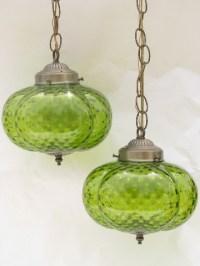 Retro vintage double light swag lamp, melon shape glass ...