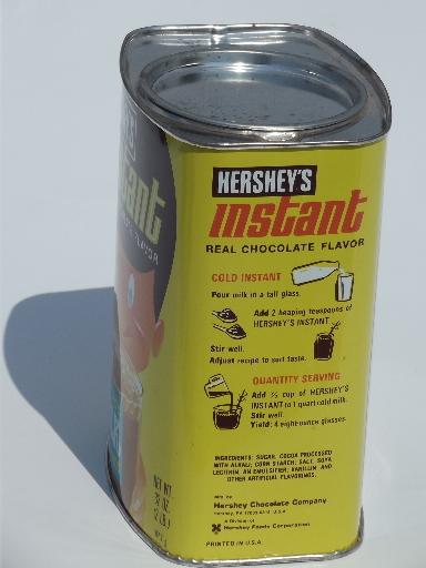 Retro vintage Hersheys Instant chocolate milk drink tin