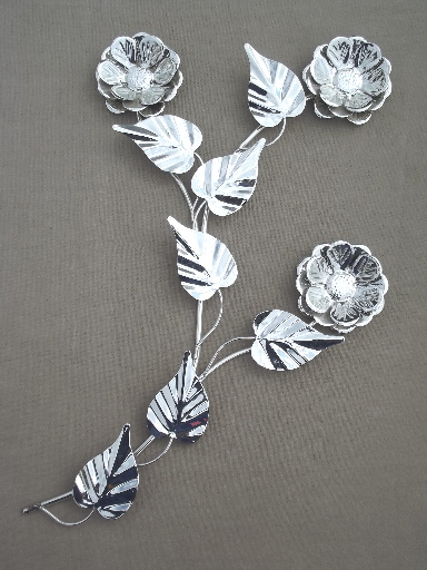 Silver chrome flower wall art vintage metal sculpture