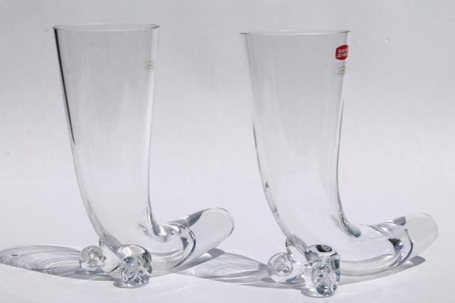 tall drinking horn beer glasses Svend Jensen Krosno