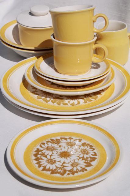 vintage 70s sunshine yellow daisy print ironstone china