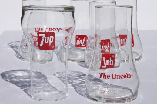 Vintage 7up glasses retro upside down 7UP the Uncola