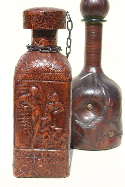 Vintage Spanish Amp Italian Leather Covered Decanter Bottles