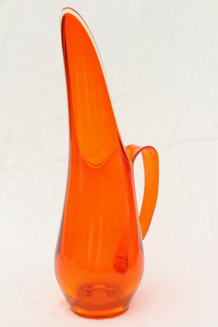 vintage Viking glass pitcher orange Epic line 60s tall