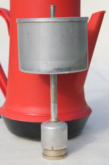 Vintage West Bend Red Plastic Percolator Automatic Electric Coffee Maker