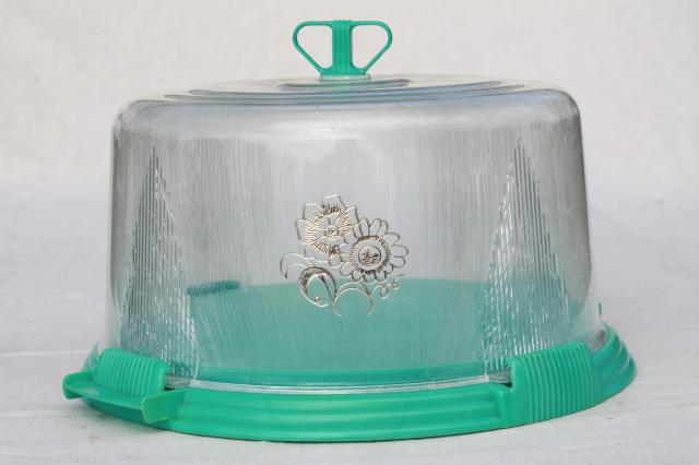 Vintage Aqua Turquoise Blue Plastic Cake Keeper Saver