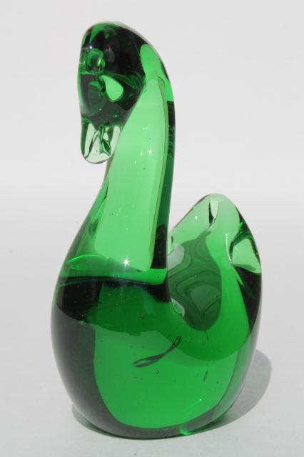 vintage art glass swan paperweight figurine animal