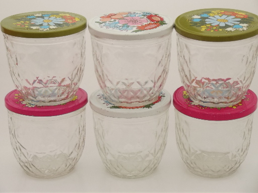 Vintage Ball quilted crystal glass jelly jars w retro