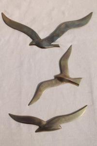 vintage brass wall art, flying gulls seagull birds ...