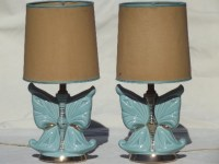Vintage ceramic boudoir lamp set, 50s retro blue butterfly ...