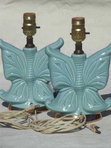 Vintage ceramic boudoir lamp set, 50s retro blue butterfly
