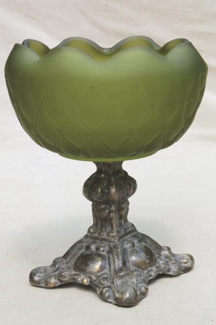 vintage flower bowl  green satin frosted glass bowl w