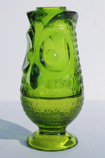 Vintage glass owl candle lamp fairy light lime green