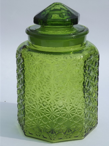 Vintage green glass daisy  button kitchen counter