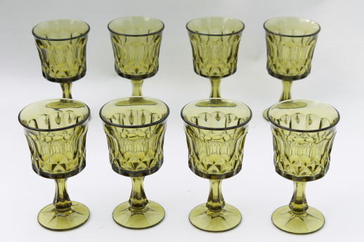 Vintage green glass goblets Noritake Perspective water