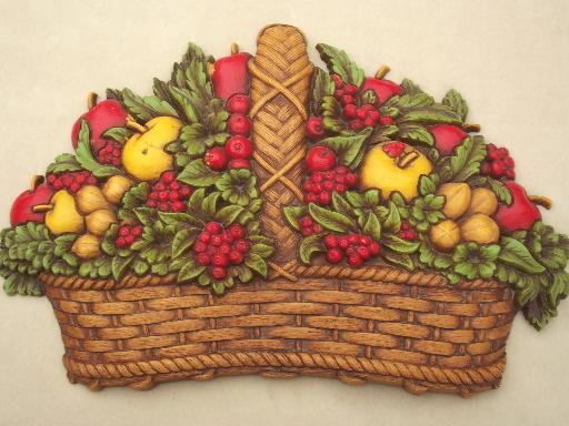 Vintage Homco fruit basket plaque wall art for 70s retro