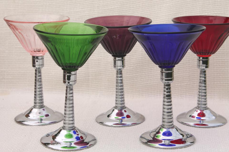 vintage martini glasses colored glass  chrome cocktail